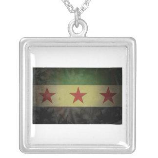 Grungy Vlag van Syrië Ketting Vierkant Hangertje