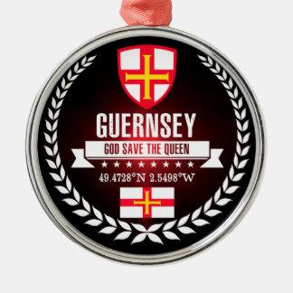 Guernsey Zilverkleurig Rond Ornament