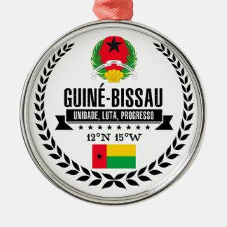 Guinea-Bissau Zilverkleurig Rond Ornament