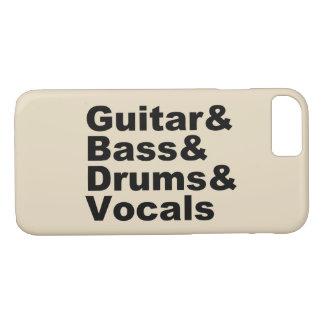 Guitar&Bass&Drums&Vocals (blk) iPhone 8/7 Hoesje