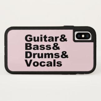 Guitar&Bass&Drums&Vocals (blk) iPhone X Hoesje