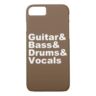 Guitar&Bass&Drums&Vocals (wht) iPhone 8/7 Hoesje