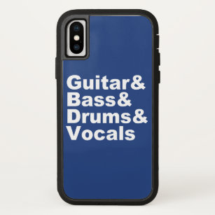 Guitar&Bass&Drums&Vocals (wht) iPhone X Hoesje