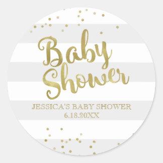 Gunst van het Baby shower van de Strepen van de Ronde Sticker