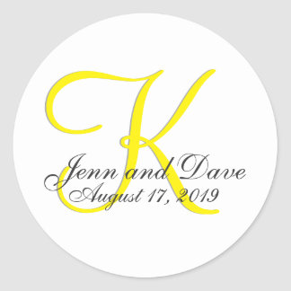 Gunst van het Huwelijk van het monogram 3d Ronde Sticker