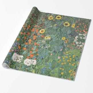 Gustav Klimt Farm Garden met Zonnebloemen Inpakpapier