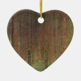 Gustav Klimt - het Bos van de Pijnboom Keramisch Hart Ornament