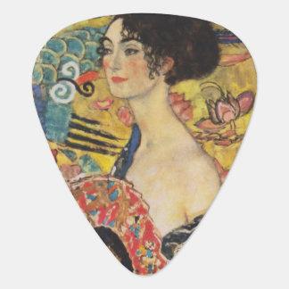 Gustav Klimt het Schilderen van Dame With Fan Plectrum
