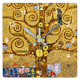 """Gustav Klimt , """" Tree of life """" Vierkante Klok"""