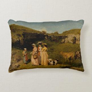 Gustave Courbet - Jonge Dames van het Dorp Accent Kussen