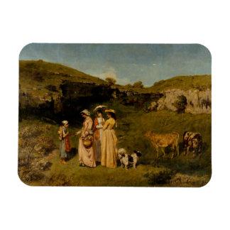 Gustave Courbet - Jonge Dames van het Dorp Rechthoek Magneet