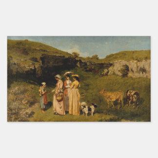 Gustave Courbet - Jonge Dames van het Dorp Rechthoek Sticker
