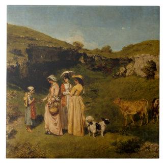 Gustave Courbet - Jonge Dames van het Dorp Tegeltje Vierkant Large