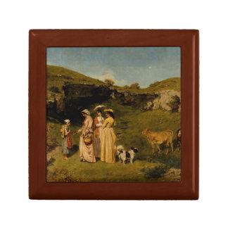 Gustave Courbet - Jonge Dames van het Dorp Vierkant Opbergdoosje Small