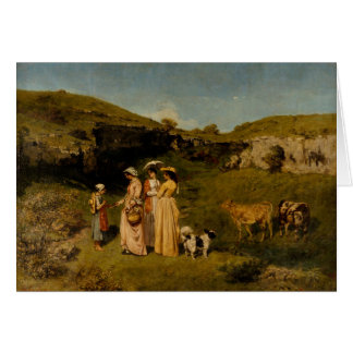 Gustave Courbet - Jonge Dames van het Dorp Wenskaart