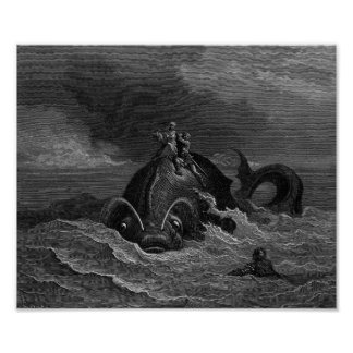 Gustave Dore Engraving Sea Monster Poster