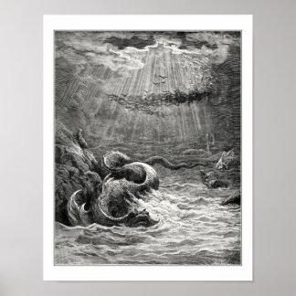 Gustave Dore: reptiel met overvloedige kuit Poster