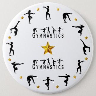 Gymnastiek, Vrouwelijke, Gouden Sterren Ronde Button 6,0 Cm
