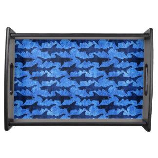 Haaien in het Diepe Blauwe Zee Dienblad