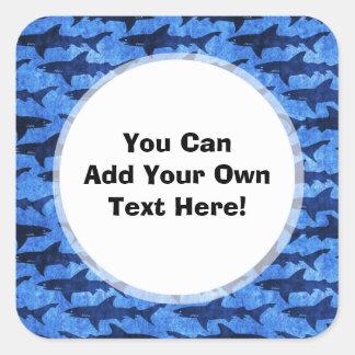 Haaien in het Diepe Blauwe Zee Vierkante Sticker