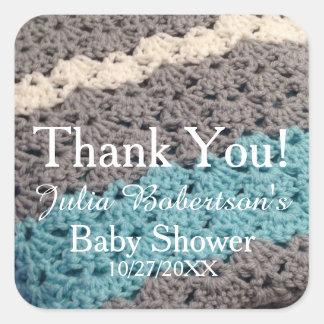 Haak het Algemene Baby shower van de Jongen dank u Vierkante Sticker