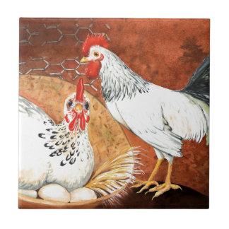 Haan en Kip met eieren op het Met de hand geschild Keramisch Tegeltje