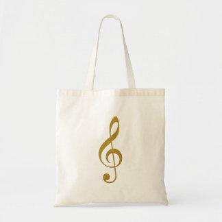 haar gouden g-sleutelmuzieknoot budget draagtas