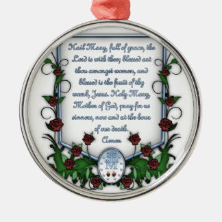 Hagel Mary Zilverkleurig Rond Ornament