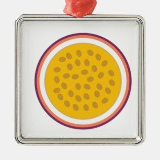 half geel fruit zilverkleurig vierkant ornament