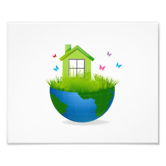 half wereldbol met groene huis en vogels ecolog de fotoafdrukken