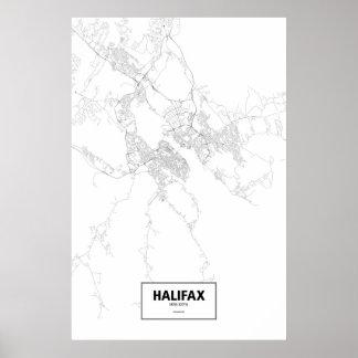 Halifax, zwart Nova Scotia (op wit) Poster