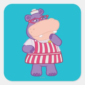Hallie Gelukkige Hippo Vierkante Sticker