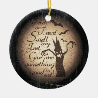 Halloween citaat rond keramisch ornament