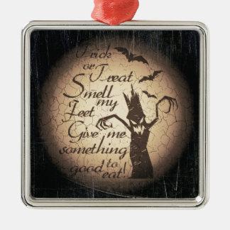Halloween citaat zilverkleurig vierkant ornament