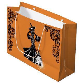 Halloween fashionillustration met zwart kant groot cadeauzakje