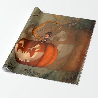 Halloween, grappige pompoen met leuke heks inpakpapier