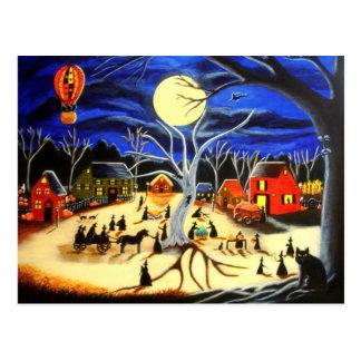 Halloween, heksen, zwarte, kat, heet, luchtballon briefkaart