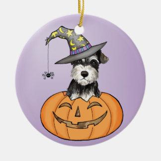 Halloween MiniatuurSchnauzer Rond Keramisch Ornament