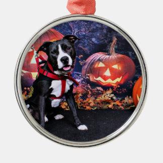 Halloween - Pitbull - Loki Zilverkleurig Rond Ornament