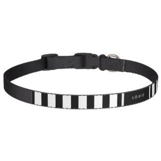 Halsband - Zwarte & Witte Strepen - Facultatieve Huisdier Halsbandje