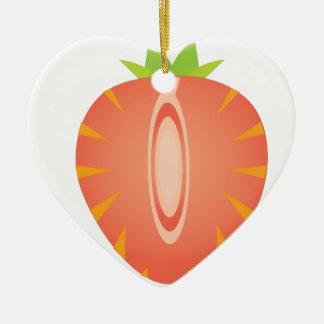 halve aardbei keramisch hart ornament