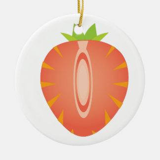 halve aardbei rond keramisch ornament