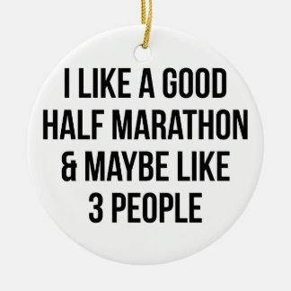 Halve Marathon & 3 Mensen Rond Keramisch Ornament