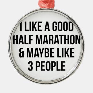 Halve Marathon & 3 Mensen Zilverkleurig Rond Ornament