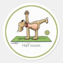 Halvemaan - yogastickers ronde sticker
