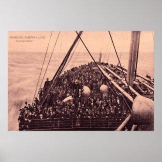 Hamburg Amerika Linie, Auswanderer Emigranten 1910 Poster