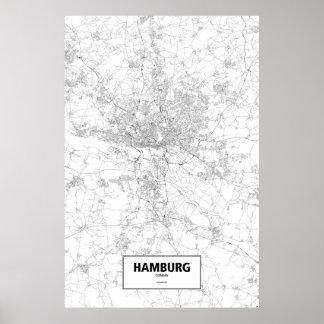 Hamburg, zwart Duitsland (op wit) Poster