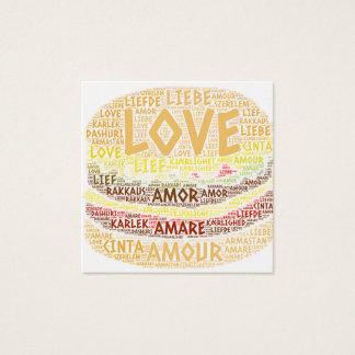 Hamburger met Word dat van de Liefde wordt Vierkante Visitekaartjes
