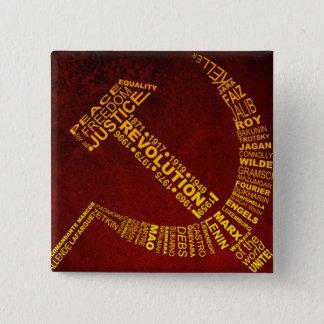 Hamer en sikkel met namen en jaren vierkante button 5,1 cm