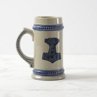 Hamer-Mjölnir van Thor in Blauw - Grijze/Blauwe Bierpul